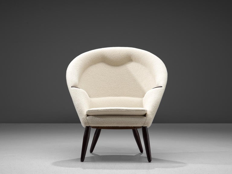 Mid-20th Century Nanna Ditzel Reupholstered 'Oda-Chair' with Ottoman  For Sale