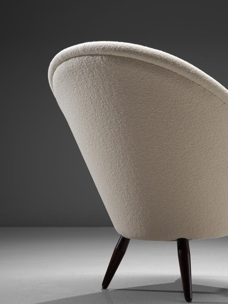 Fabric Nanna Ditzel Reupholstered 'Oda-Chair' with Ottoman  For Sale