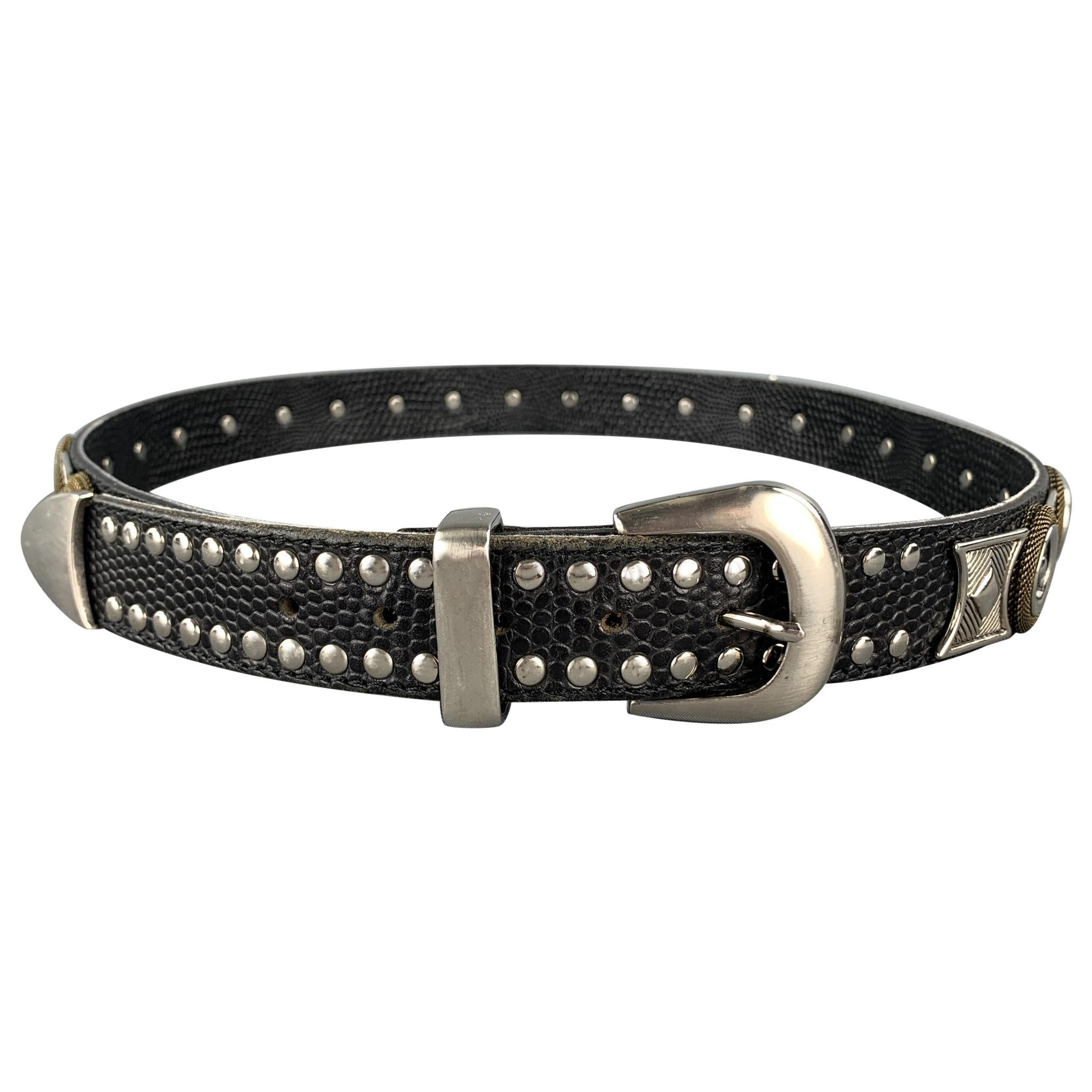 NANNI Size 36 Black & Silver Studded Leather Metal Belt