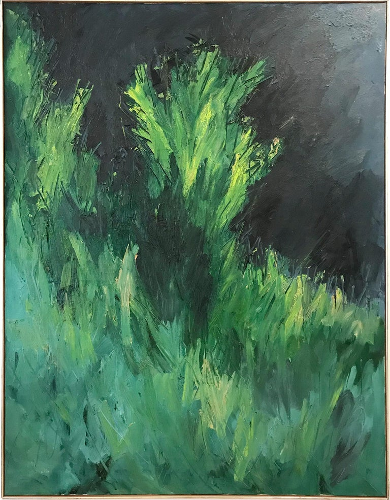 """Nanno de Groot Landscape Painting - """"Lush Landscape with Greens and Blues"""" Mid Century Modern Oil Painting on Canvas"""