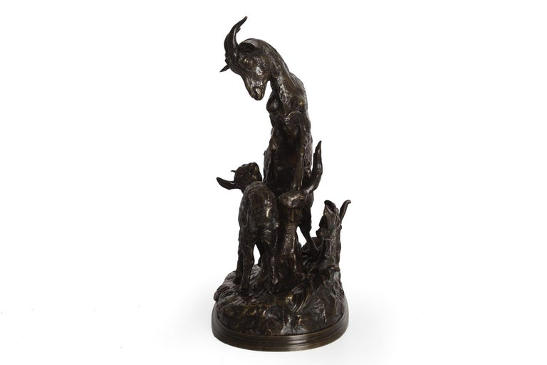 """""""Nanny Goat and Kid"""" Antique Bronze Group Sculpture by Pierre Jules Mene In Good Condition For Sale In Shippensburg, PA"""