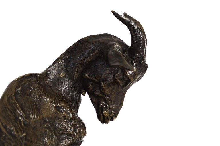 """""""Nanny Goat and Kid"""" Antique Bronze Group Sculpture by Pierre Jules Mene For Sale 1"""