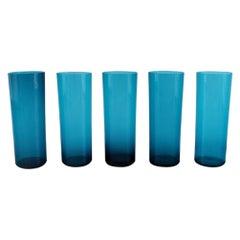 Nanny Still for Riihimäen Lasi, Five Drinking Glasses in Blue Art Glass