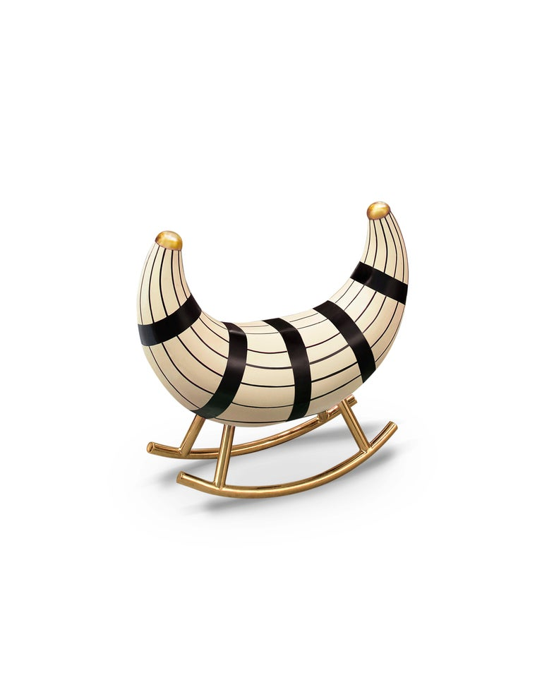 Indian Nanook of the North Rocking Seat with metal legs in gold in MDF, Plywood & Resin For Sale