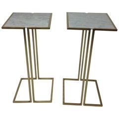 Nantes Side Tables, Model D, Satin Brass