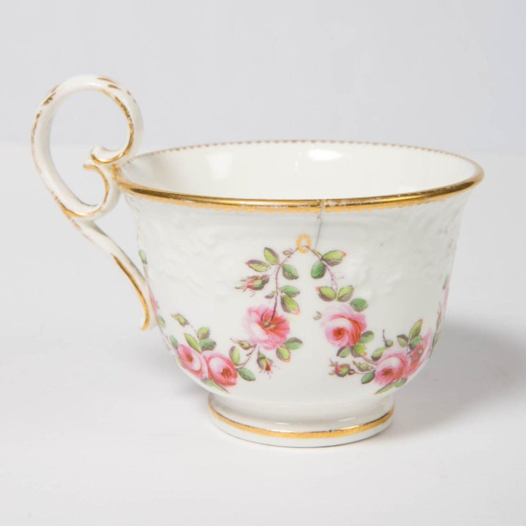 Nantgarw Porcelain Breakfast Cup and Saucer with Pink Roses Wales, 1813-1822 For Sale 3