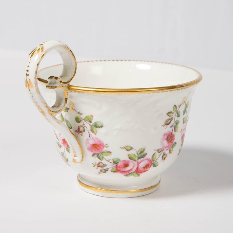 Nantgarw Porcelain Breakfast Cup and Saucer with Pink Roses Wales, 1813-1822 For Sale 4
