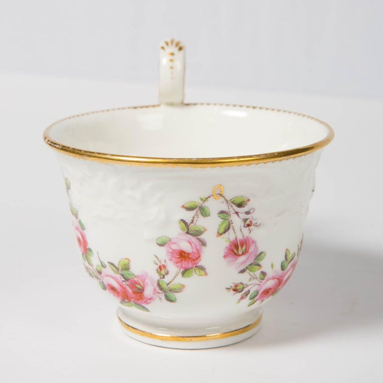 Nantgarw Porcelain Breakfast Cup and Saucer with Pink Roses Wales, 1813-1822 For Sale 5