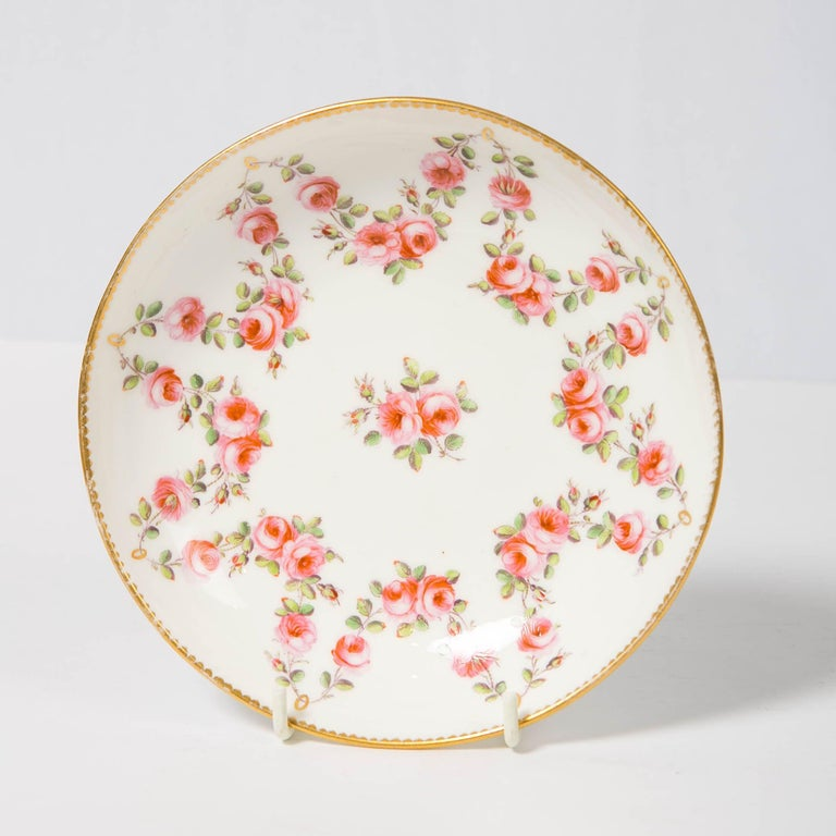 Nantgarw Porcelain Breakfast Cup and Saucer with Pink Roses Wales, 1813-1822 For Sale 7