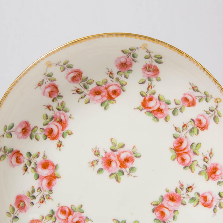 Nantgarw Porcelain Breakfast Cup and Saucer with Pink Roses Wales, 1813-1822 For Sale 8