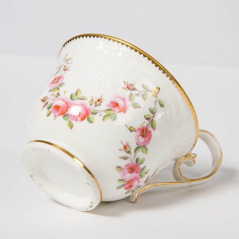 Rococo Nantgarw Porcelain Breakfast Cup and Saucer with Pink Roses Wales, 1813-1822 For Sale