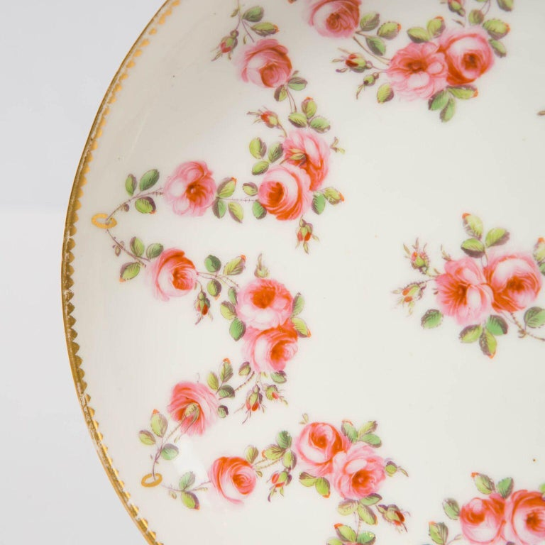Welsh Nantgarw Porcelain Breakfast Cup and Saucer with Pink Roses Wales, 1813-1822 For Sale