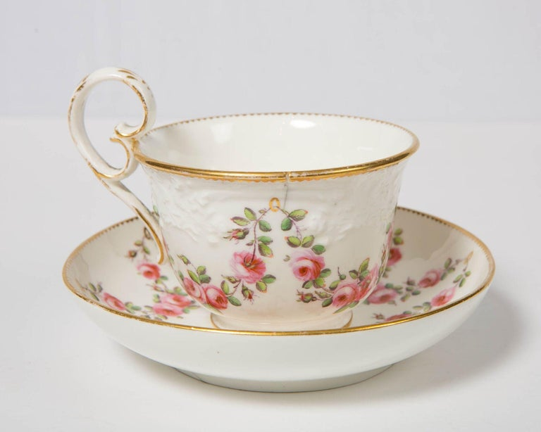 19th Century Nantgarw Porcelain Breakfast Cup and Saucer with Pink Roses Wales, 1813-1822 For Sale