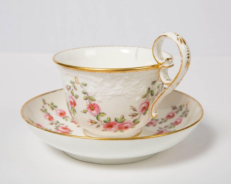 Nantgarw Porcelain Breakfast Cup and Saucer with Pink Roses Wales, 1813-1822 For Sale 2