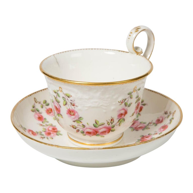 Nantgarw Porcelain Breakfast Cup and Saucer with Pink Roses Wales, 1813-1822 For Sale