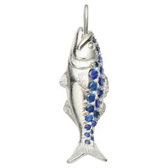 Nantucket Bluefish Sapphire and 18 Karat White Gold Charm or Small Pendant