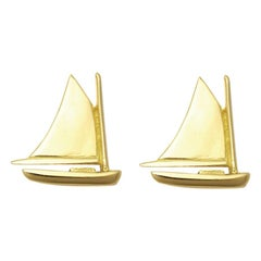 Nantucket Cat Boat Earrings in 18 Karat Gold