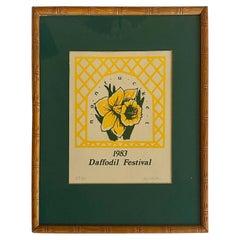 Nantucket Daffodil Festival Lithograph, by Joy Cowan, 1983