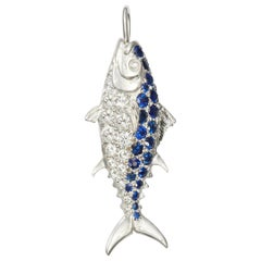 Susan Lister Locke Nantucket Diamond and Sapphire Tuna Fish Pendant