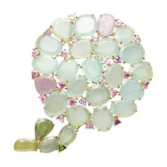 Aquamarine with Pink and Green Sapphire Hydrangea Pendant and Pin