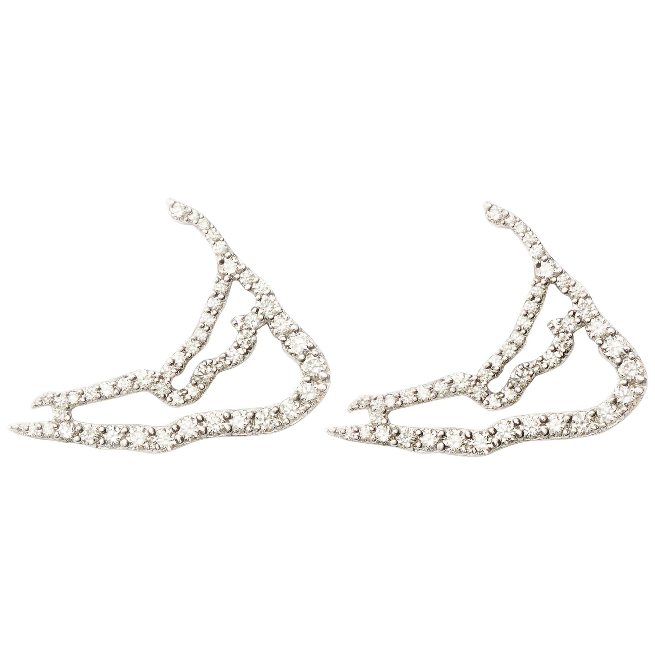 Susan Lister Locke Nantucket in Diamonds Map Earrings