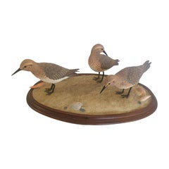 Nantucket Oval Tabletop Sculpture of Carved Wood Sandpipers on the Beach