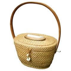 Nantucket Style Wicker Resin Whale Basket Handbag Circa 1980s
