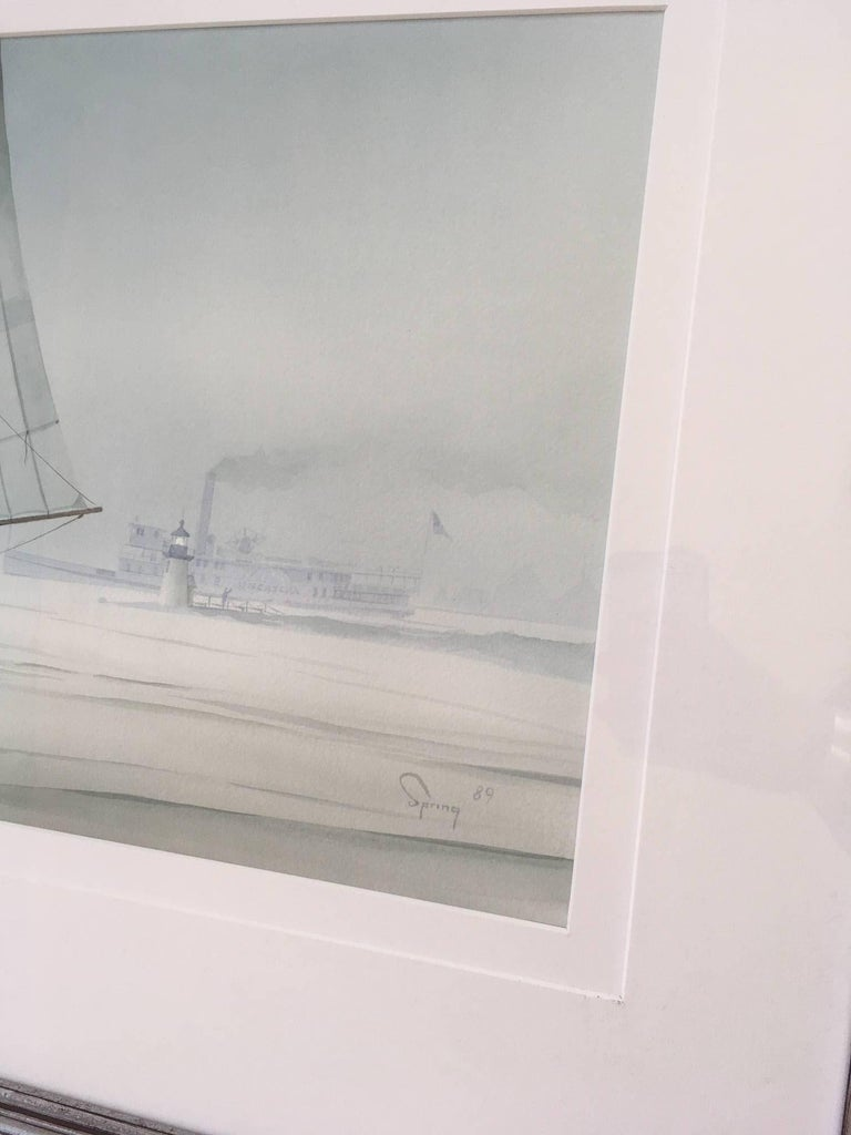Other Nantucket Watercolor of Catboat and Steamship at Brant Point by Robert Spring For Sale