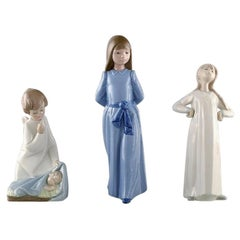 Nao and Lladro, Three Porcelain Figures, 20th Century