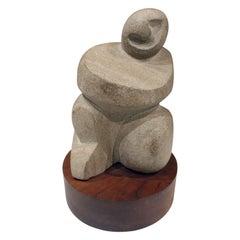 "Naomi Feinberg ""Buddha"" Sculpture in Limestone, 1960s"