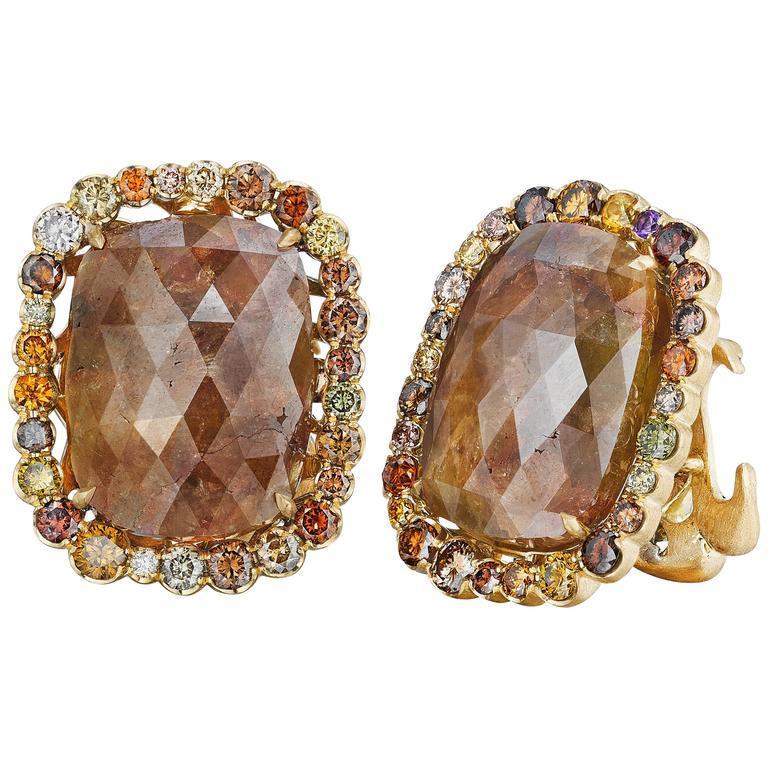Women's or Men's Naomi Sarna Brown Diamond Gold Earrings For Sale