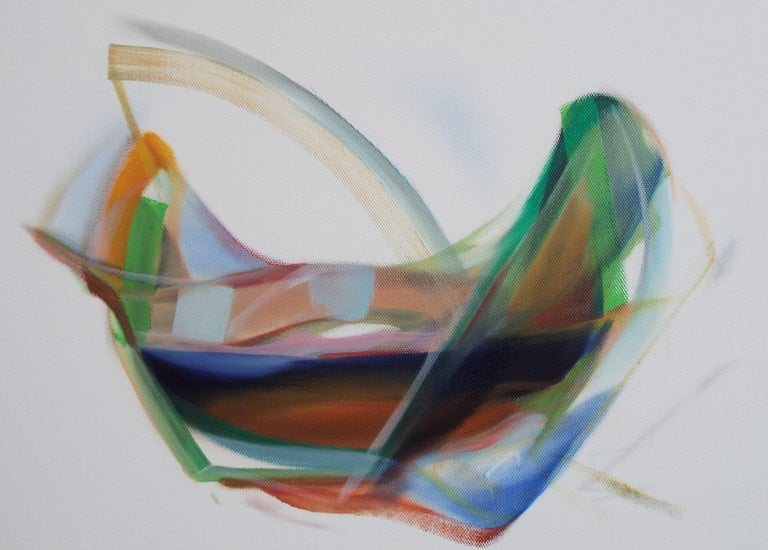 'Hope' by Naomi Yuki is a stunning contemporary abstract oil painting with intense blue and green colors. The fluid design of the expressionist artwork sets a very relaxing mood.  Contemporary artwork mounted on stretchers (0.9″ depth). It is an