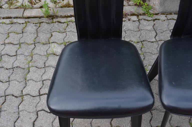 Naos Black Saddle Leather Dining Chairs Italy Design Set of 6 For Sale 7