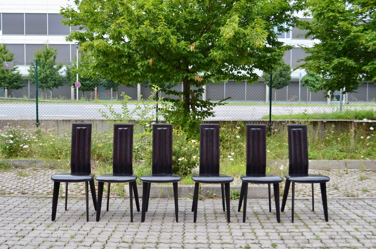 Modern Naos Black Saddle Leather Dining Chairs Italy Design Set of 6 For Sale