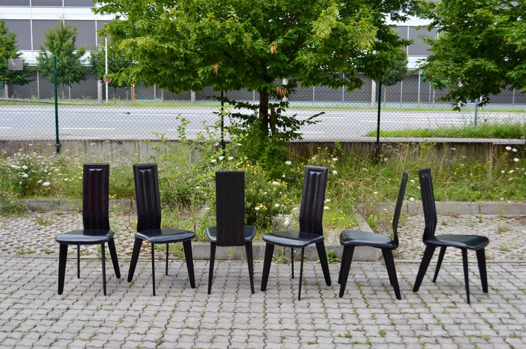 Italian Naos Black Saddle Leather Dining Chairs Italy Design Set of 6 For Sale