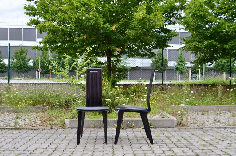 Naos Black Saddle Leather Dining Chairs Italy Design Set of 6 In Good Condition For Sale In Munich, Bavaria