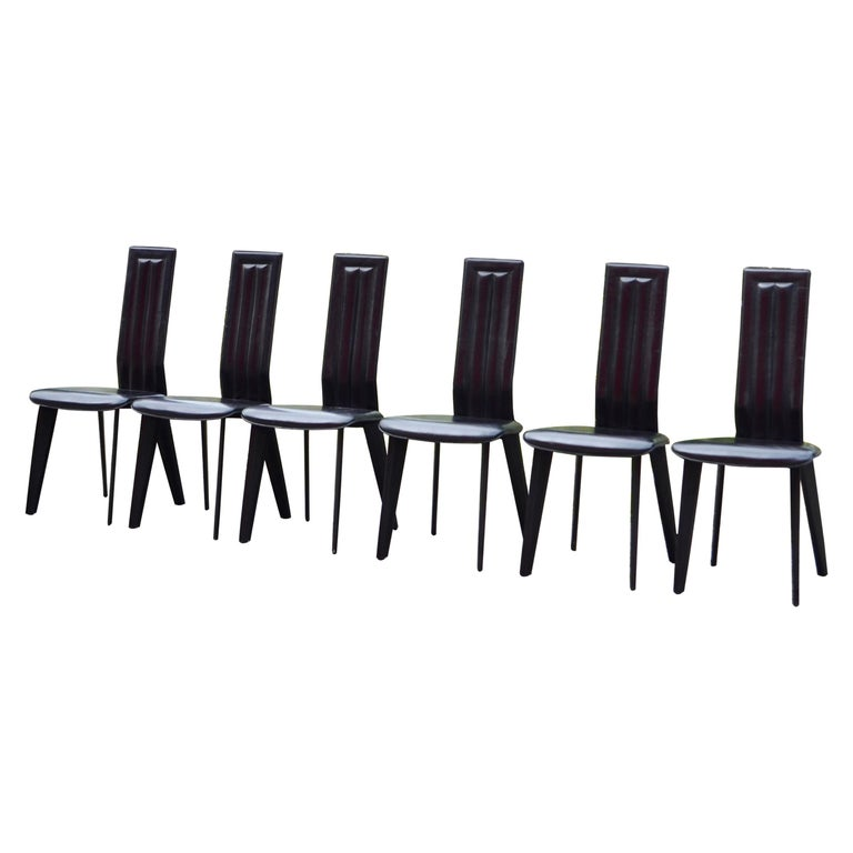 Naos Black Saddle Leather Dining Chairs Italy Design Set of 6 For Sale