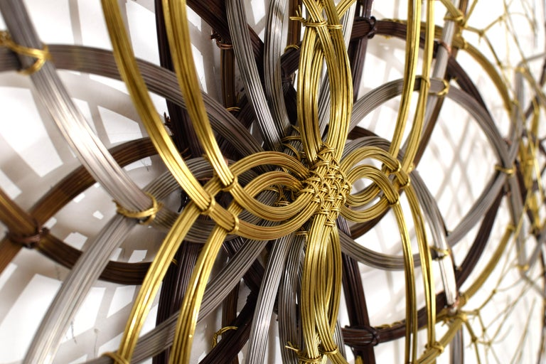 Modern ~6 ft Metal Wall Sculpture in Bronze, Brass & Stainless, 'Naos' by Kue King #600