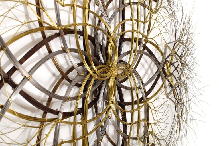 American ~6 ft Metal Wall Sculpture in Bronze, Brass & Stainless, 'Naos' by Kue King #600