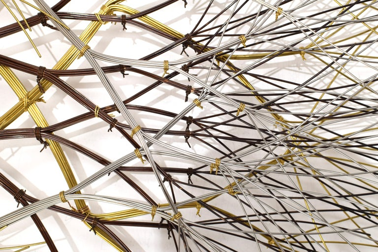 Contemporary ~6 ft Metal Wall Sculpture in Bronze, Brass & Stainless, 'Naos' by Kue King #600