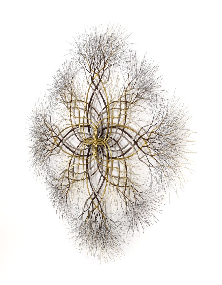 ~6 ft Metal Wall Sculpture in Bronze, Brass & Stainless, 'Naos' by Kue King #600 1