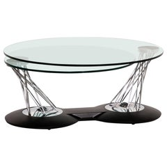 Naos Gemelli Glass Chrome Coffee Table Function Adjustable