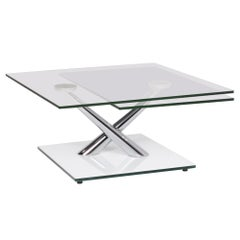 NAOS Glass Table Silver Adjustable Function Table