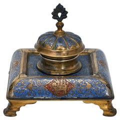 NAP. III Inkwell Sign, Tahan a Paris Enamel Blue and Red Elephant, Dragon, Horse
