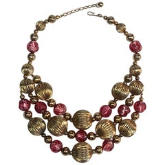 Napier 1950s Murano Glass & Gold Bead Bib Necklace