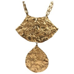 Napier 1970's Gilded Gold Abstract Gold Necklace with Double Chain