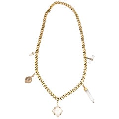 Napier Chain and Crystal Pendant Link Necklace Vintage