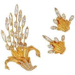 Napier Gilded Crystal Bouquet Demi-Parure Set, Signed, circa 1980