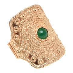 Napier Gold Plated Green Glass Cuff Bracelet Vintage