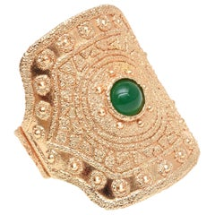 Napier Gold Plated and Green Glass Cuff Bracelet Vintage